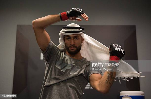 Mehdi Baghdad prepares to head to the Octagon before facing Julian Erosa during the filming of The Ultimate Fighter: Team McGregor vs Team Faber at...