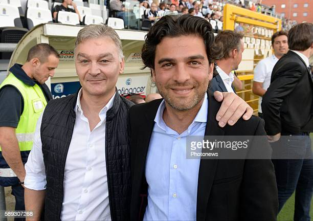 Mehdi Bayat and Debecq Fabien president of Charleroi pictured during Jupiler Pro League match between RCS Charleroi and KAA Gent on August 13, 2016...