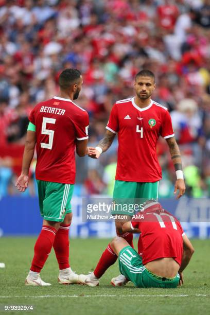 Mehdi Benatia Manuel Da Costa and Faycal Fajr of Morocco look dejected at the end of the 2018 FIFA World Cup Russia group B match between Portugal...