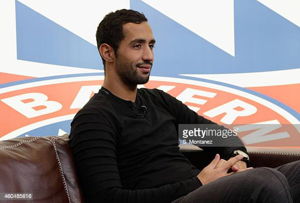 Mehdi Benatia of Bayern Muenchen looks on during an interview at Bayern's training ground Saebener Strasse on December 1 2014 in Munich Germany