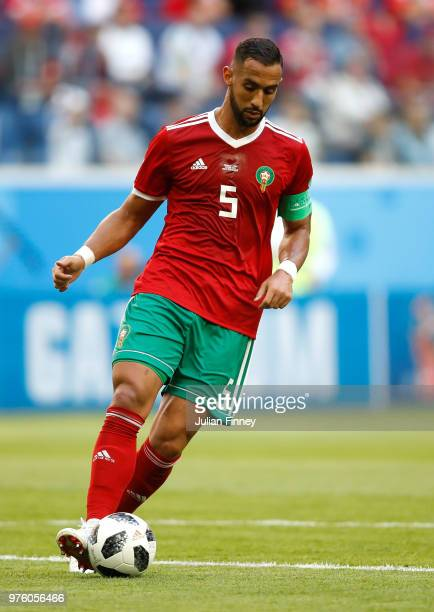 Mehdi Benatia of Morocco in action during the 2018 FIFA World Cup Russia group B match between Morocco and Iran at Saint Petersburg Stadium on June...