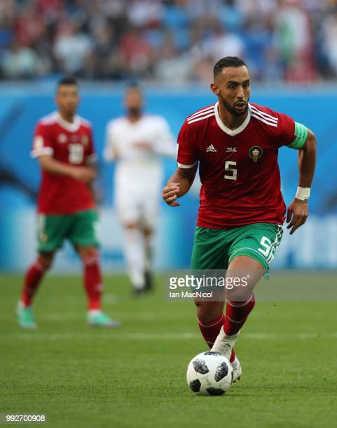 Mehdi Benatia of Morocco is seen during the 2018 FIFA World Cup Russia group B match between Morocco and Iran at Saint Petersburg Stadium on June 15...