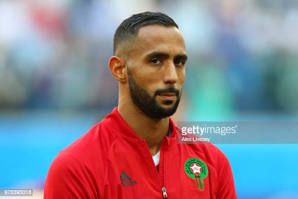 Mehdi Benatia of Morocco looks on during the 2018 FIFA World Cup Russia group B match between Morocco and Iran at Saint Petersburg Stadium on June 15...