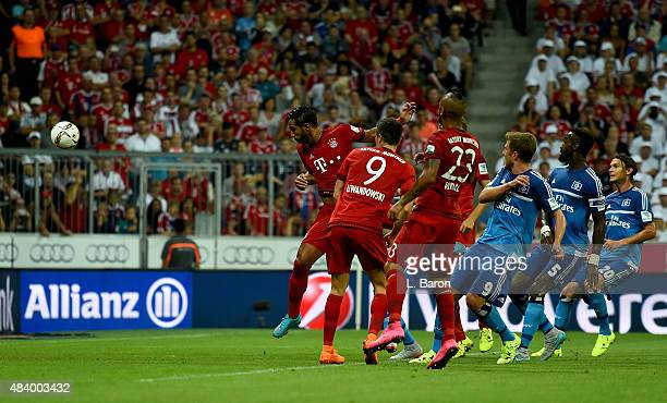 Mehdi Benatia of Muenchen scores his teams first goal during the Bundesliga match between FC Bayern Muenchen and Hamburger SV at Allianz Arena on...