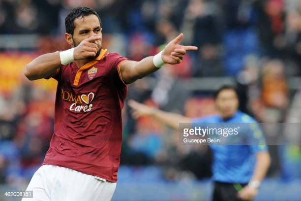 Mehdi Benatia of Roma celebrates after scoring the goal 40 during the Serie A match between AS Roma and Genoa CFC at Stadio Olimpico on January 12...