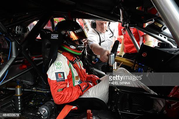 Mehdi Bennani in his Honda Civic prepares to compete in the Marrakech WTCC Fia World Touring Car championship race on April 13 in Marrakesh. AFP...