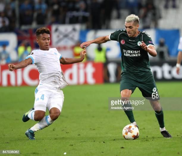 Mehdi Bourabia of Konyaspor in action against Boubacar Kamara Olympique de Marseille during the UEFA Europa League Group I match between Olympique de...