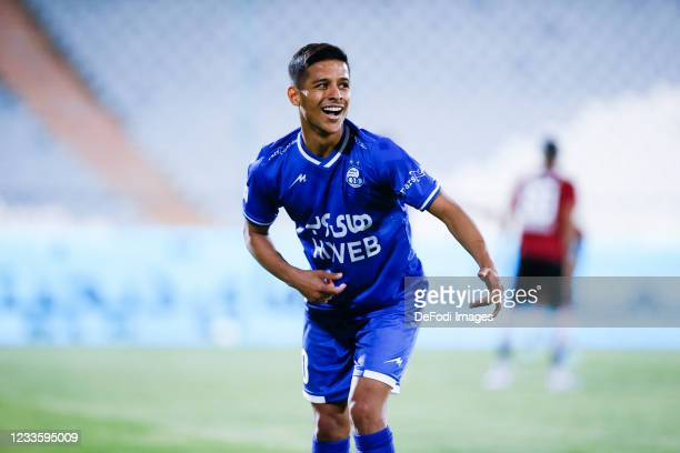 Mehdi Ghayedi of Esteghlal celebrates after scoring his teams second goal during the Persian Gulf Pro League match between Esteghlal and Padideh FC...