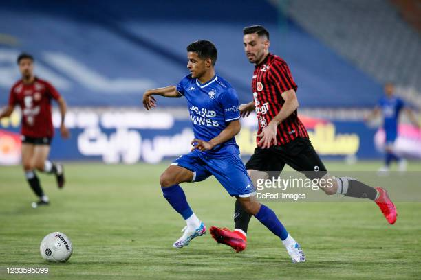 Mehdi Ghayedi of Esteghlal controls the ball during the Persian Gulf Pro League match between Esteghlal and Padideh FC at Azadi Stadium on June 21,...