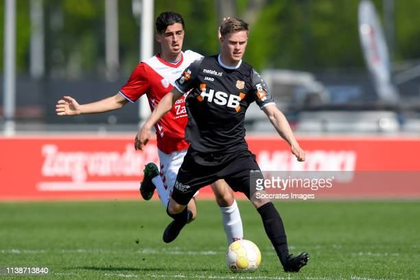Mehdi Lehaire of FC Utrecht U23 Robin Schouten of FC Volendam during the Dutch Keuken Kampioen Divisie match between Utrecht U23 v FC Volendam at the...