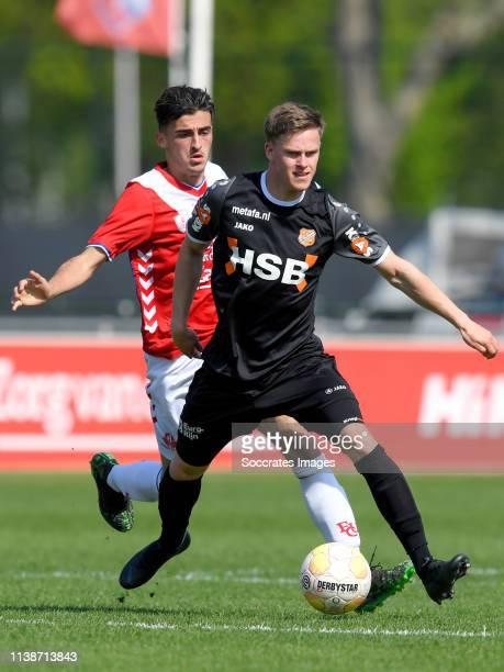 Mehdi Lehaire of FC Utrecht U23 Robin Schouten of FC Volendam during the Dutch Keuken Kampioen Divisie match between Utrecht U23 v FC Volendam at the...