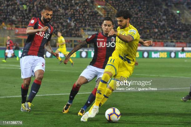 Mehdi Leris of Chievo in action during the Serie A match between Bologna FC and Chievo at Stadio Renato Dall'Ara on April 08 2019 in Bologna Italy