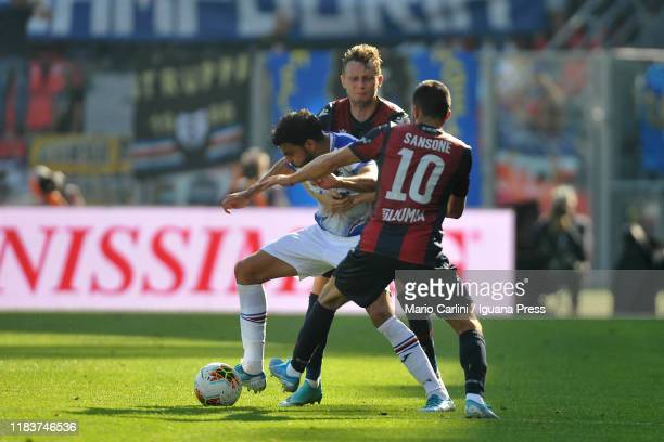 Mehdi Leris of UC Sampdoria in action during the Serie A match between Bologna FC and UC Sampdoria at Stadio Renato Dall'Ara on October 27 2019 in...