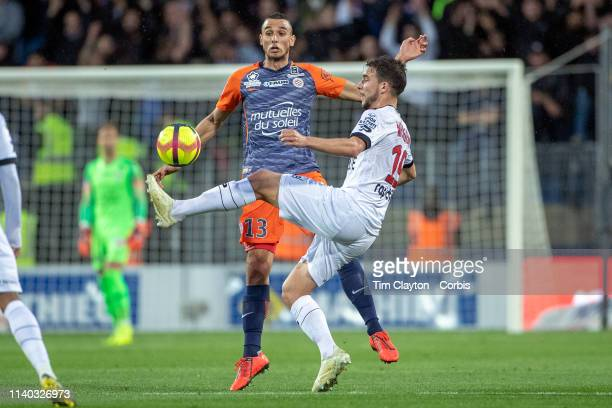 Mehdi Merghem of Guingamp defended by Ellyes Skhiri of Montpellier during the Montpellier V Guingamp French Ligue 1 regular season match at Stade de...