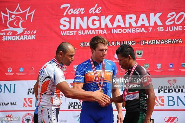 Mehdi Sohrabi of Tabriz Petrochemical Team Iran Brenton Jones of Avanti Racing Team Australia and Mark Julius Bordeos of Team 7 Eleven Roadbike...