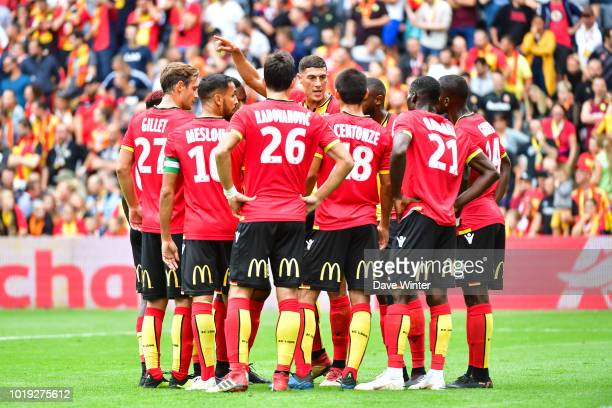 Mehdi Tahrat of Lens tries to rally his side during a break in play during the French Ligue 2 match between RC Lens and Troyes at Stade...