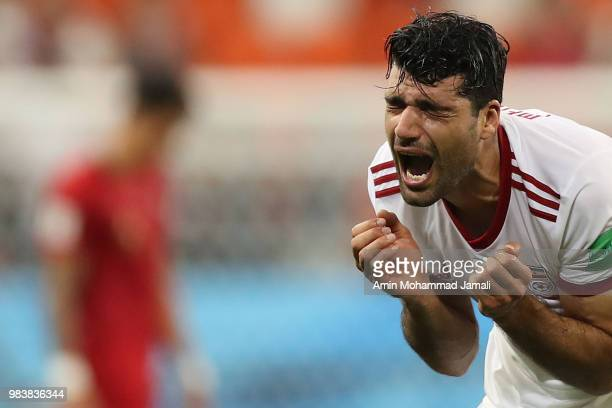 Mehdi Taremi Cries after the 2018 FIFA World Cup Russia group B match between Iran and Portugal at Mordovia Arena on June 25 2018 in Saransk Russia
