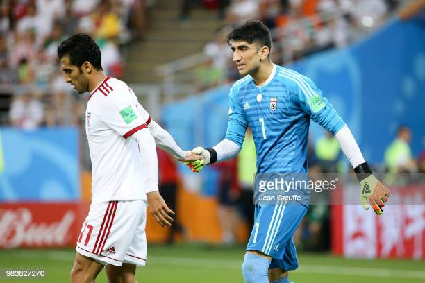 Mehdi Taremi Goalkeeper of Iran Alireza Beiranvand during the 2018 FIFA World Cup Russia group B match between Iran and Portugal at Mordovia Arena on...