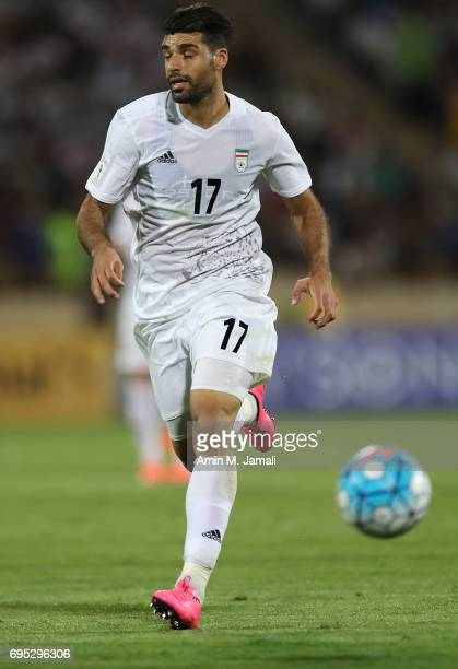 Mehdi Taremi in action during FIFA 2018 World Cup Qualifier match between Iran and Uzbekistan at Azadi Stadium on June 12 2017 in Tehran Iran