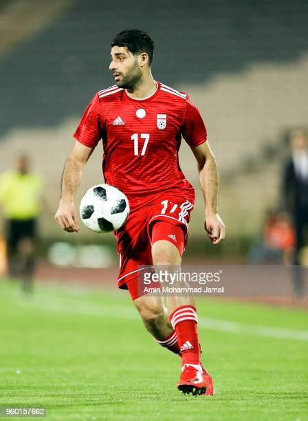 Mehdi Taremi in action during the international friendly match between Iran and Uzbekistan at Azadi Stadium on May 19 2018 in Tehran Iran