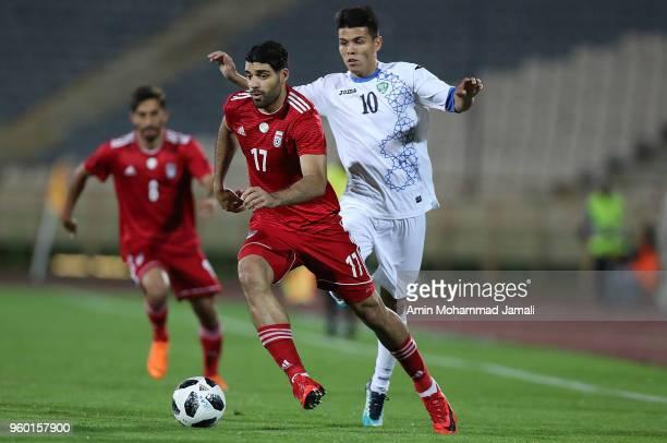 Mehdi Taremi in action during the international friendly match between Iran and Uzbekistan at Azadi Stadium on May 19 2018 in Tehran Iran
