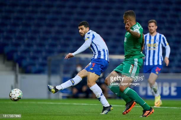 Mehdi Taremi of FC Porto scores his team fourth goal during the Liga NOS match between FC Porto and SC Farense at Estadio do Dragao on May 10, 2021...