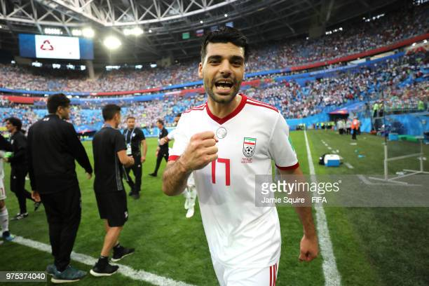 Mehdi Taremi of Iran celebrates his side's win following the 2018 FIFA World Cup Russia group B match between Morocco and Iran at Saint Petersburg...