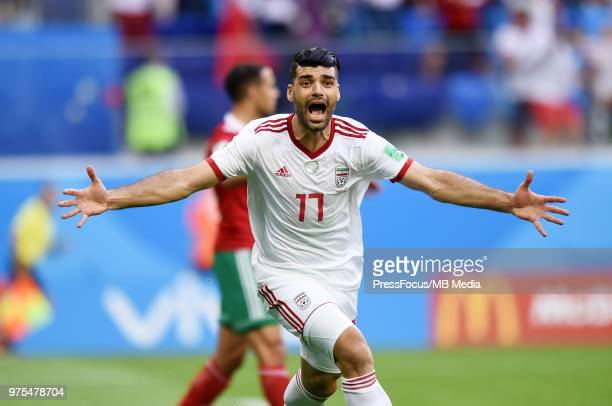 Mehdi Taremi of Iran celebrates scoring a goal during the 2018 FIFA World Cup Russia group B match between Morocco and Iran at Saint Petersburg...