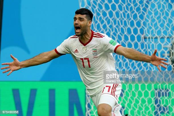 Mehdi Taremi of Iran celebrates their first goal against Morocco during the 2018 FIFA World Cup Russia group B match between Morocco and Iran at...