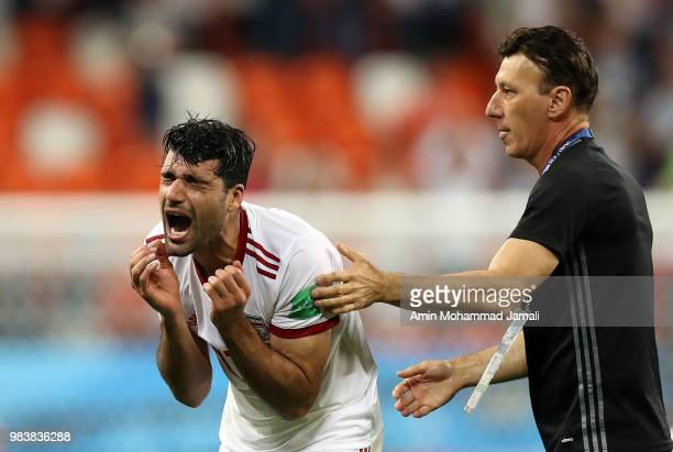 Mehdi Taremi of Iran cries after the 2018 FIFA World Cup Russia group B match between Iran and Portugal at Mordovia Arena on June 25 2018 in Saransk...