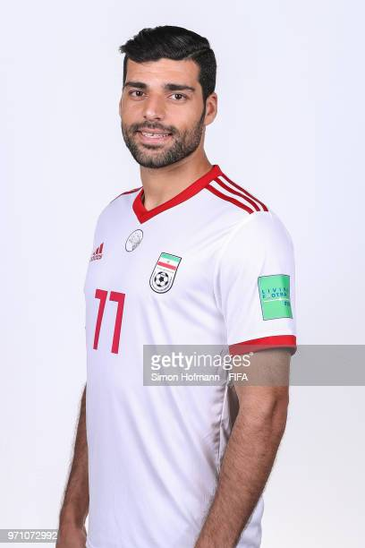 Mehdi Taremi of Iran poses during the official FIFA World Cup 2018 portrait session at Bakovka Training Base on June 9 2018 in Moscow Russia