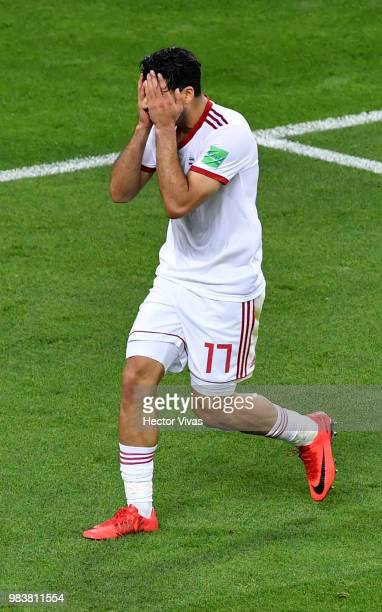Mehdi Taremi of Iran reacts after missing a chance during the 2018 FIFA World Cup Russia group B match between Iran and Portugal at Mordovia Arena on...