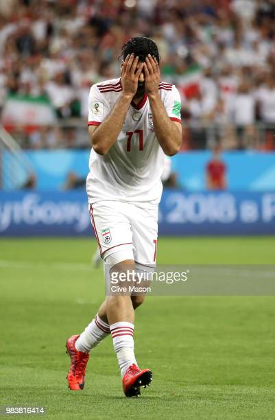 Mehdi Taremi of Iran reacts during the 2018 FIFA World Cup Russia group B match between Iran and Portugal at Mordovia Arena on June 25, 2018 in...