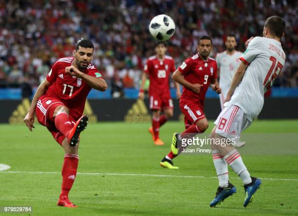 Mehdi Taremi of Iran shoots during the 2018 FIFA World Cup Russia group B match between Iran and Spain at Kazan Arena on June 20 2018 in Kazan Russia