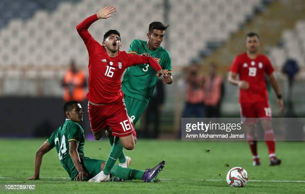 Mehdi Torabi of Iran in action during the international friendly match between Iran and Bolivia at Azadi Stadium on October 16 2018 in Tehran Iran