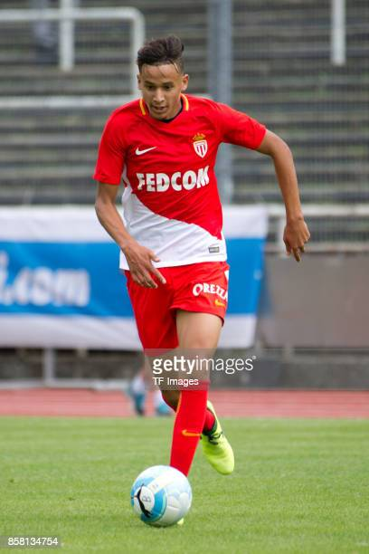 Mehdi Zerkane of Monaco controls the ball during the EMKA RUHRCup International match between AS Monaco U19 and FC Schalke 04 U19 at Stadion Rote...