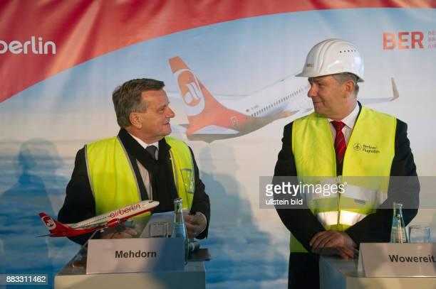 Mehdorn Hartmut CEO of AirBerlin Germany with Klaus Wowereit Mayor of Berlin