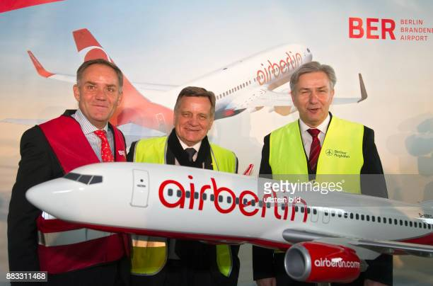 Mehdorn Hartmut CEO of AirBerlin Germany with Rainer Schwarz Spokesman of the Management Board of the Berliner Flughaefen GmbH and Klaus Wowereit...