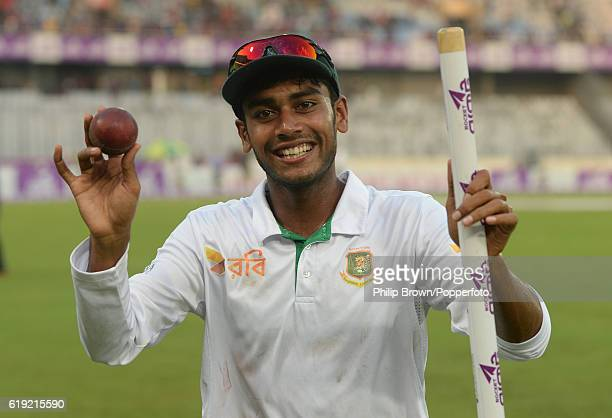 Mehedi Hasan after Bangladesh won the second test match between Bangladesh and England at Shere Bangla National Stadium on October 30 2016 in Dhaka...