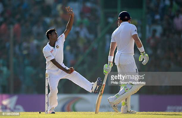 Mehedi Hasan bowls during day one of the first test match between Bangladesh and England at Zohur Ahmed Chowdhury Stadium on October 20 2016 in...