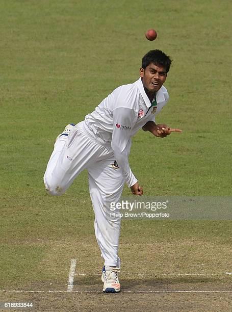 Mehedi Hasan bowls during the second test match between Bangladesh and England at Shere Bangla National Stadium on October 29 2016 in Dhaka Bangladesh
