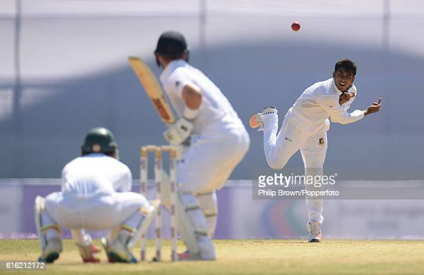 Mehedi Hasan bowls during the third day of the first test match between Bangladesh and England at Zohur Ahmed Chowdhury Stadium on October 22 2016 in...