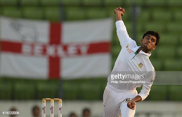 Mehedi Hasan bowls during the third day of the second test match between Bangladesh and England at Shere Bangla National Stadium on October 30 2016...