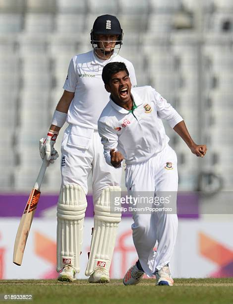 Mehedi Hasan celebrates after bowling Moeen Ali during the second test match between Bangladesh and England at Shere Bangla National Stadium on...