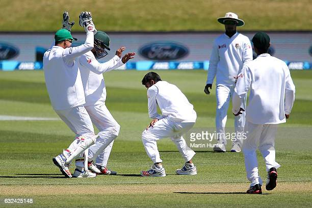 Mehedi Hasan Miraz of Bangladesh celebrates the wicket of Matt Henry of New Zealand during day four of the Second Test match between New Zealand and...