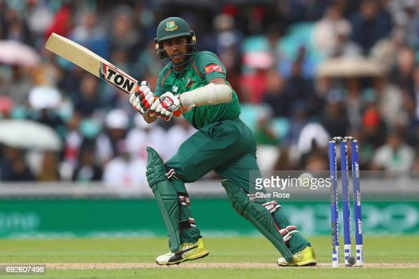 Mehedi Hasan Miraz of Bangladesh in action during the ICC Champions trophy cricket match between Australia and Bangladesh at The Oval in London on...