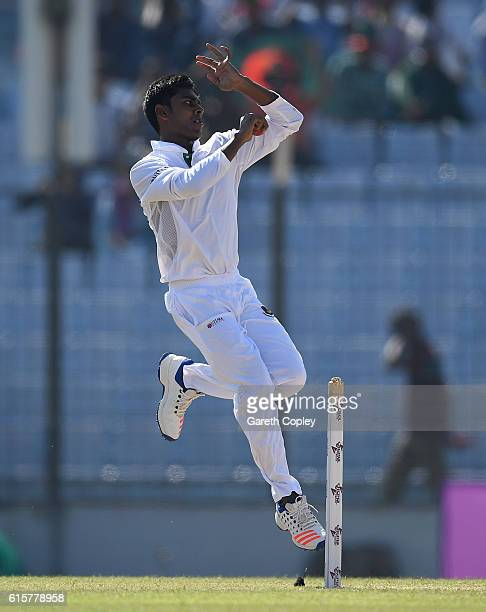 Mehedi Hasan of Bangladesh bowls during the first Test match between Bangladesh and England at Zohur Ahmed Chowdhury Stadium on October 20 2016 in...