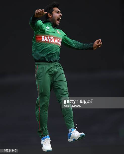 Mehedi Hasan of Bangladesh clebrates taking the wicket of Faf du Plessis during the Group Stage match of the ICC Cricket World Cup 2019 between South...