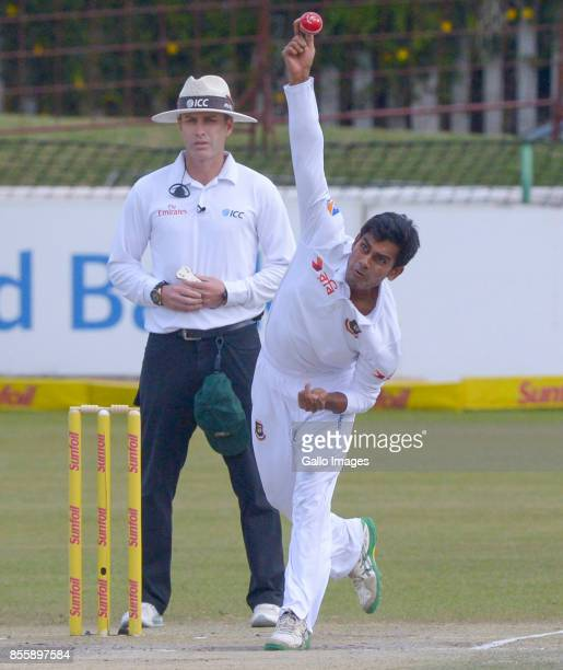 Mehedi Miraj Hasan of Bangladesh bowling during day 3 of the 1st Sunfoil Test match between South Africa and Bangladesh at Senwes Park on September...