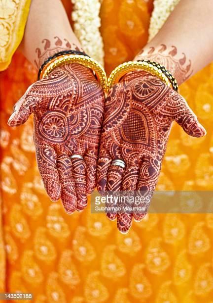 Mehendi on brides hands